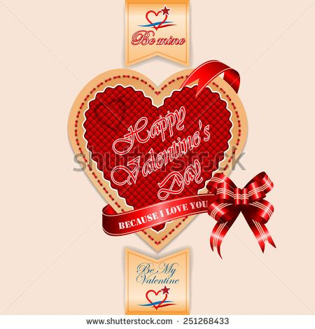 Vintage Happy Valentine's Day background with Because I love You text on ribbon and nice heart logo.  - stock photo