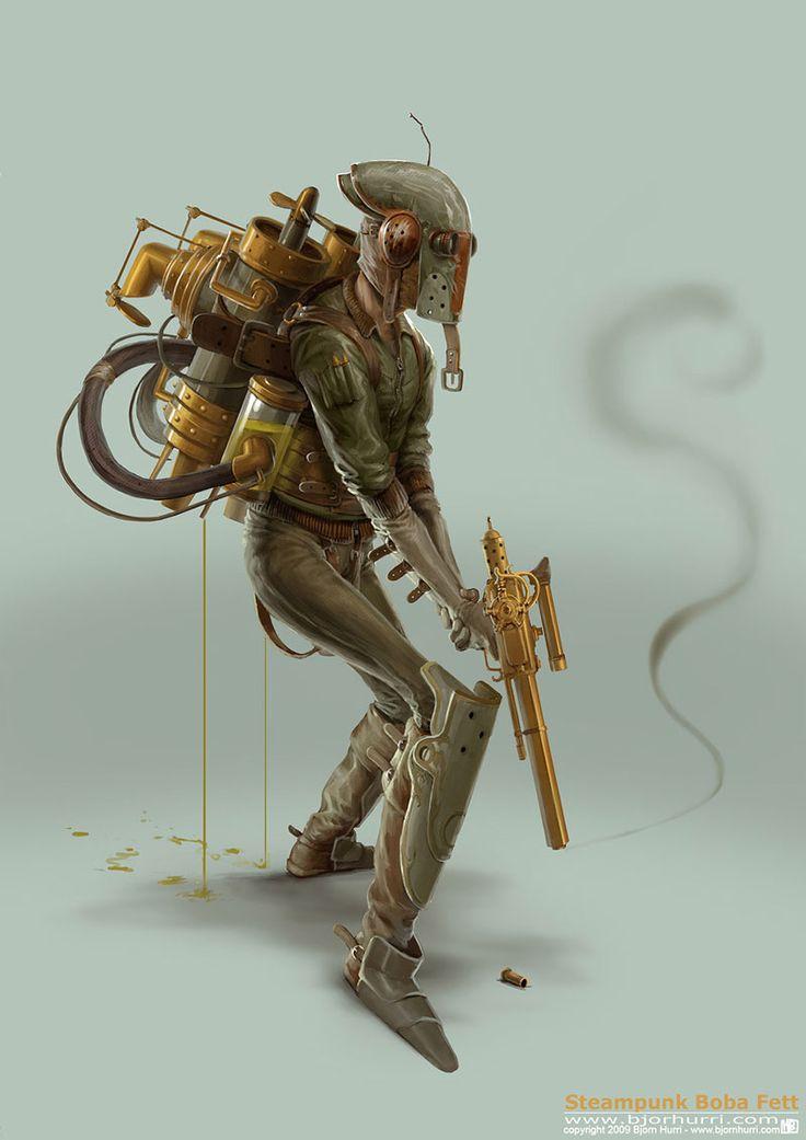 Steampunk Star Wars – Boba Fett: Concept Art, Stars War Art, Boba Fett, Steampunk Stars War, Steam Punk, Steampunk Boba, Bjorn Hurry, Bobafett, Fans Art