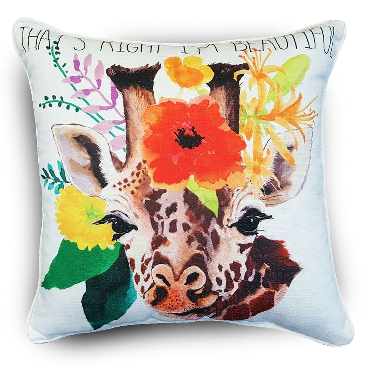 International Edith Giraffe Muticolor Floral Throw Pillows