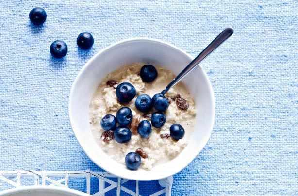 Healthy blueberry Bircher muesli is the perfect option for breakfast, especially if you're trying to be good. Prepare the night before and leave to soak in the fridge. This easy to make breakfast is topped with fresh blueberries, which count towards your 5-a-day. This recipe serves 1 person and takes 5 mins to prepare, plus soaking overnight. Blueberries are packed with vitamins and minerals and are one of the best superfoods.