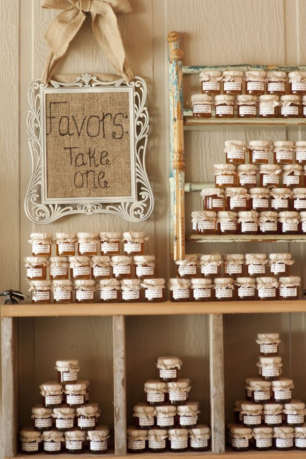 Jars of jelly + burlap sign.
