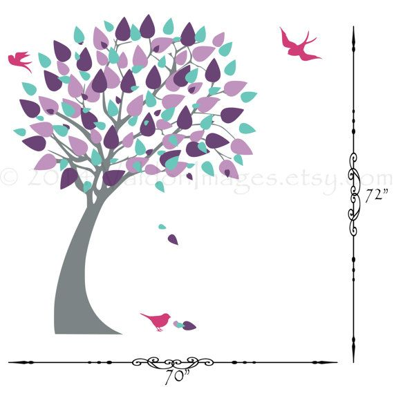 Modern shades of purple tree with bird wall decal by ValdonImages