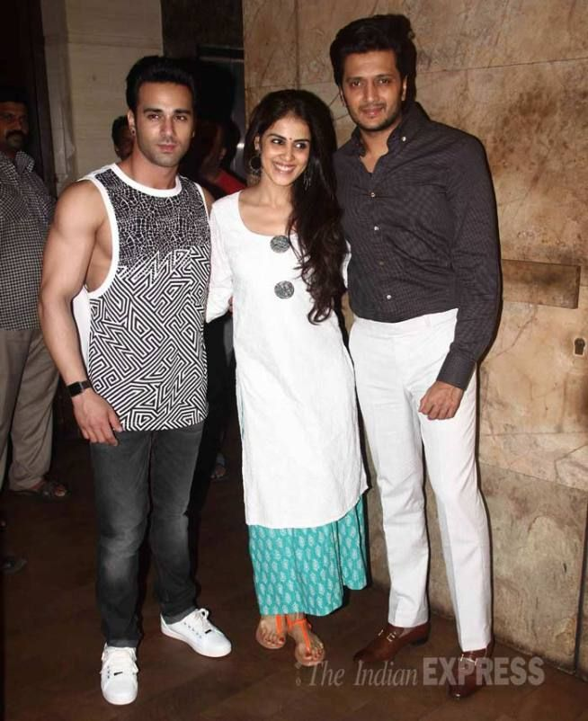 Riteish Deshmukh at a special screening of #Bangistan along with wife Genelia D'Souza and co-star Pulkit Samrat. #Bollywood #Fashion #Style #Beauty #Handsome