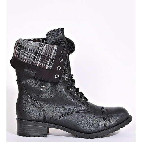 Flannel Plaid Foldover Combat Boots ($37) ❤ liked on Polyvore featuring shoes, boots, black, fold-over combat boots, black boots, combat boots, military boots and lace up fold over boots