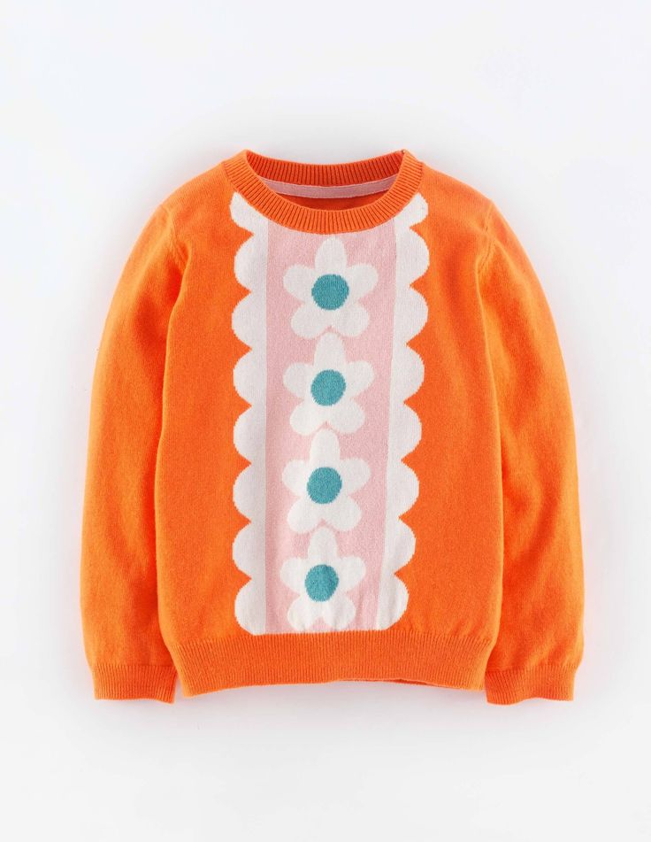 """Mini Boden Retro Sweater. """"Great colours on a soft yarn with a touch of cashmere, we hope this jumper finds you having fun, especially messy fun, because it is machine washable."""" #NewBritish"""