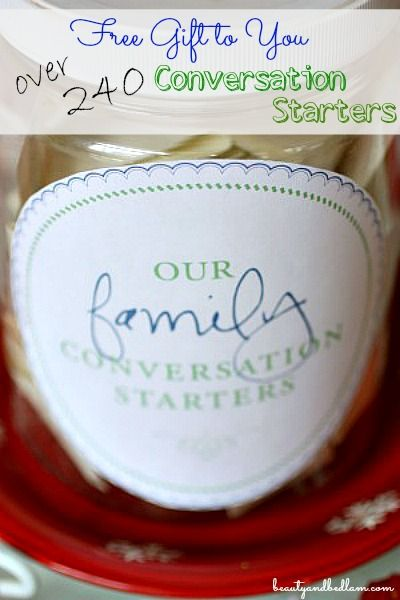 Change your family meal time! This free printable makes the perfect gift, PLUS free labels too. Have wonderful dinner time conversation with over 240 conversation starters.