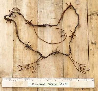 Running Chicken Rooster Hen Western Barn Wall Decor Country Barbed Wire Art | eBay