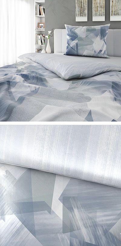 Bettwäsche Silber Blau Gemustert 140x200 Bettwäsche Bed Home