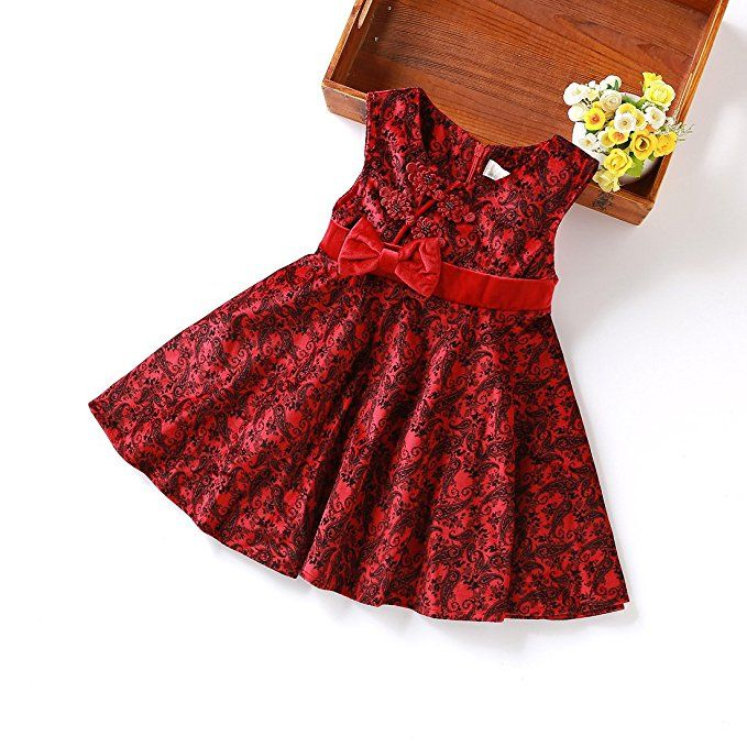 MIQI Baby Girls' Red Velour Dress Floral Print Bowknot Easter Sundress http://Amzn.to/2mbBRsu