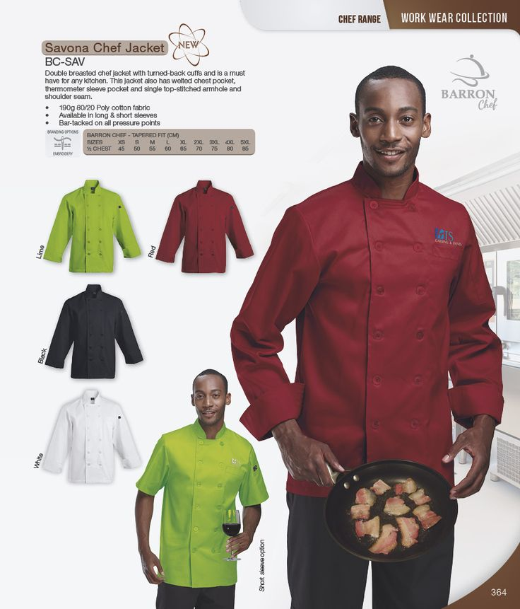 Double breasted chef jacket with turned-back cuffs and is a must have for any kitchen. This jacket also has welted chest pocket, thermometer sleeve pocket and single top-stitched armhole and shoulder seam.  190g 80/20 Poly cotton fabric Available in long & short sleeves Bar-tacked on all pressure points