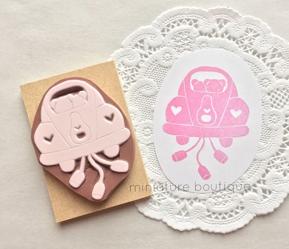 Wedding  Just Married  Teddy Bear hand carved stamp by miniatureboutique