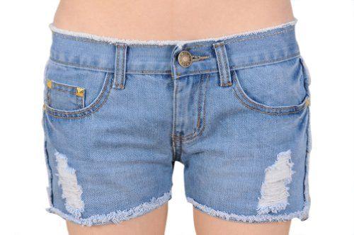 Womens Frayed-edge Loose Shorts Jeans Denim Short Pants Asian Size 27 Light Blue