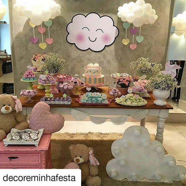 #Repost @decoreminhafesta with @repostapp ・・・ Chuva de amor em tons candy color para a futura mamãe da Marina  Peça seu orçamento!  Bolo lindo de @erineidetoscanobolos  #chadebebe #chadebebemenina #festademenina #babyshower #baby #instababy #instaparty #instadecor #festainfantil #festachuvadeamor #temachuvadeamor #chuvadeamor #nuvens #festanuvens #nuvemfeliz #candycolors #apaixonadaporfesta