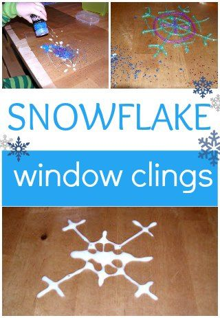 Make your own snowflake window clings. A fun indoor winter activity for kids.