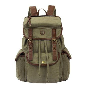 Amazon Zicac Vintage Women Men Canvas Backpack Leather Trim Book Bag Rucksack Shoulder