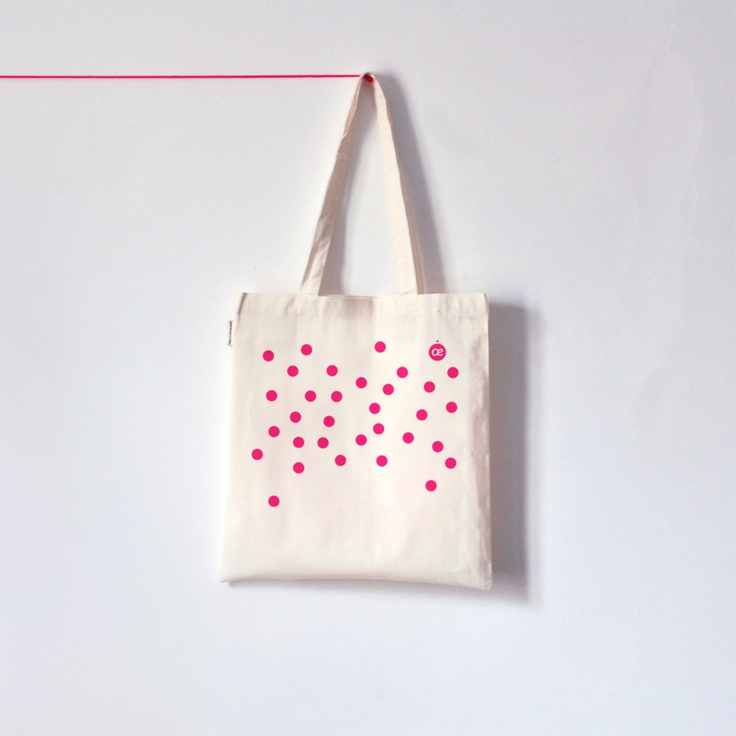 Neon pink Polka dot / Organic cotton tote bag / Screen printed. €14.00, via Etsy.