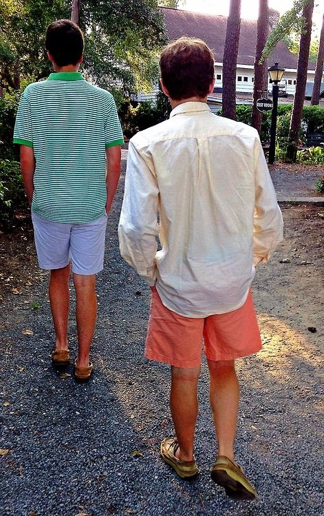 Coral shorts/ivory shirt/loafers