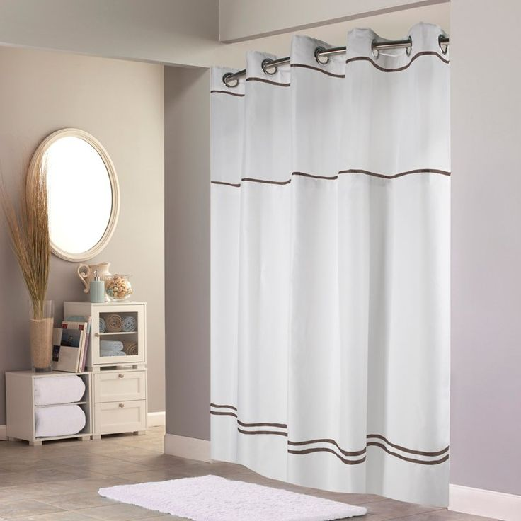 Have to have it. Hookless Escape with It's a Snap PEVA Liner White & Brown Fabric Shower Curtain - $36.99 @hayneedle
