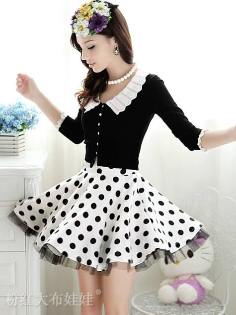 HQ 1511 Pretty Collar Black Blouse. L Bust 70-95cm Shoulder xa Sleeve 47cm Length 45cm. Fabric Cotton, Spandex (elastic)