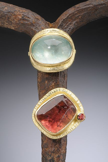 18K Gold Aquamarine Cabochon and 18k Gold Pink Tourmaline with Red Sapphire Hughes-Bosca Jewelry | Rings