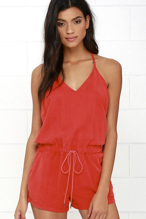 Blank NYC Ladder Washed Red Romper at Lulus.com!