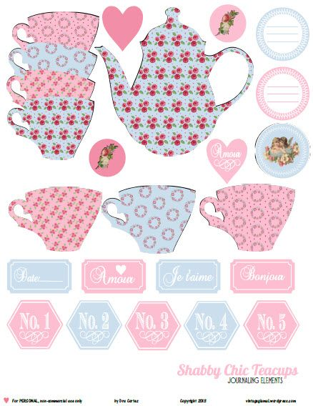 Free printable pdf download of shabby chic teacup elements including other designs. For personal use only in scrapbooking and other papercrafts.