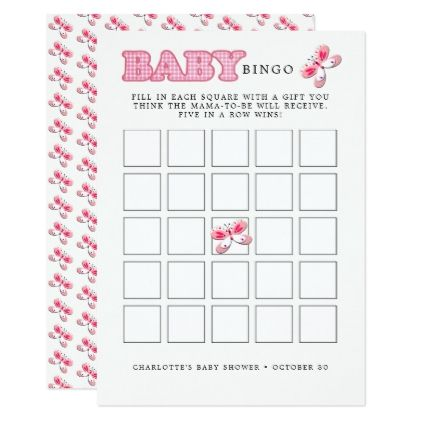 Whimsy Pink White Pretty Butterfly Girl Baby Bingo Card - flowers floral flower design unique style