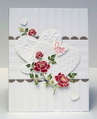 Stunning White On White Card...with red roses.
