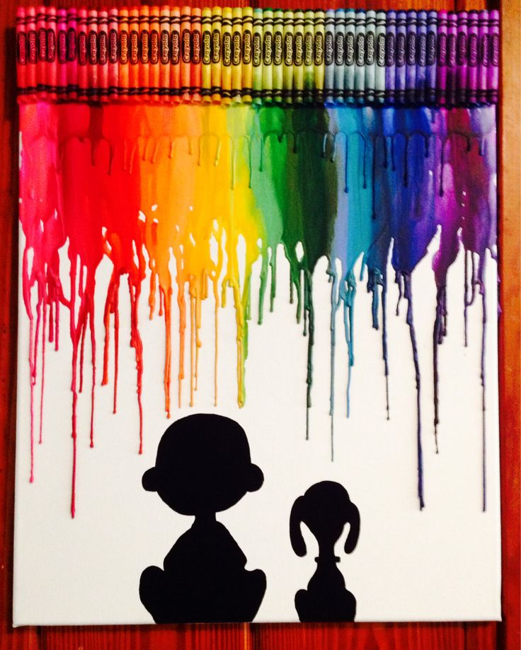 Charlie Brown and Snoopy melted crayon art by OnceUponACrayon, $35.00