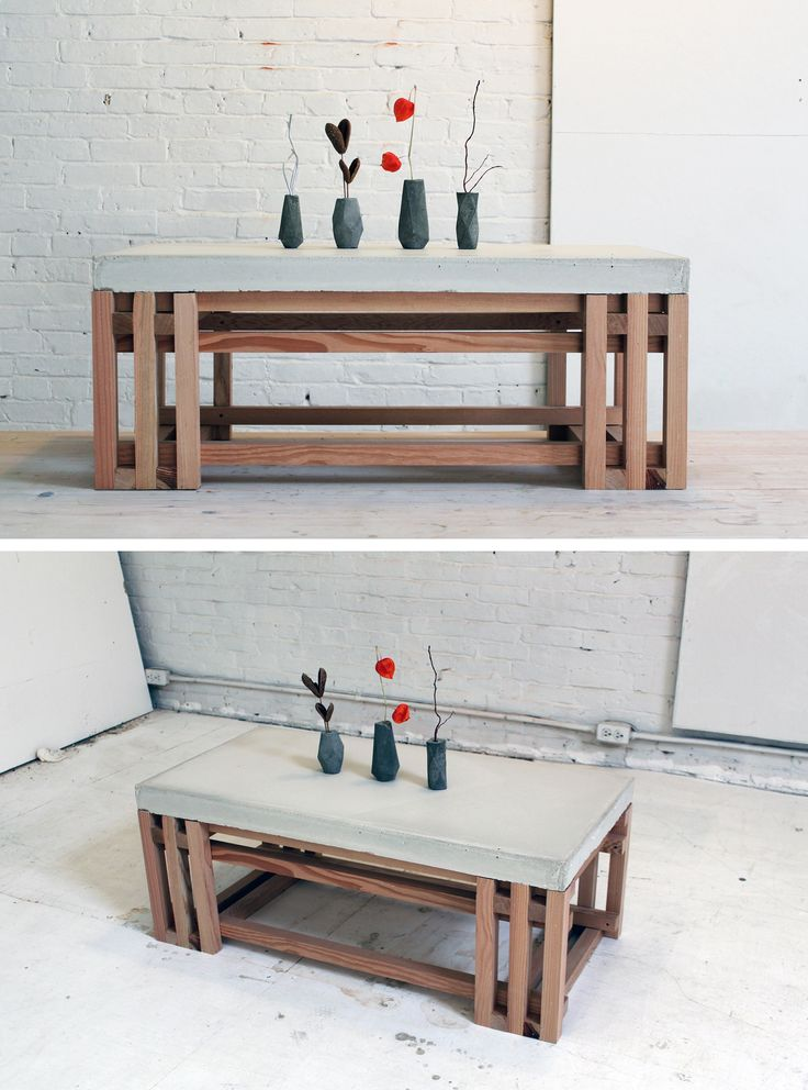 Build your own concrete + wood coffee table! For step-by-step instructions, check out our website.