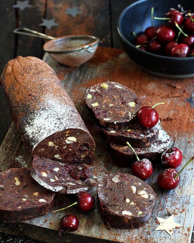 CHERRY-ALMOND CHOCOLATE SALAMI