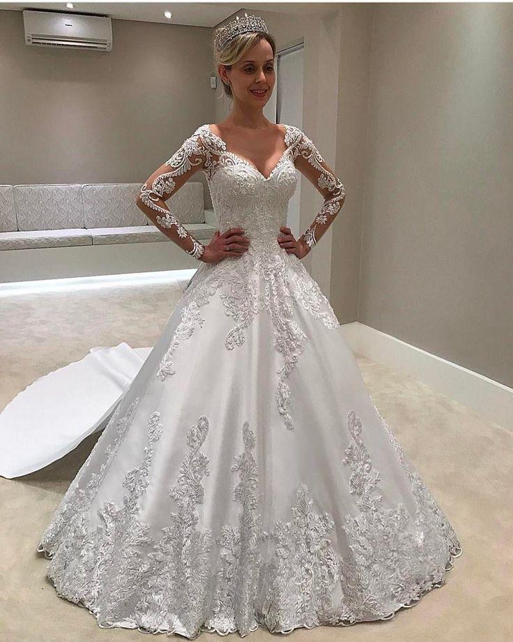 Ball Gown,Illusion Wedding Dresses,Bateau Wedding Dresses,Court Train Wedding Dresses,Long Sleeves Wedding Dresses,Appliques Wedding Dresses,Wedding Dresses 2017,Bridal Dresses 2017