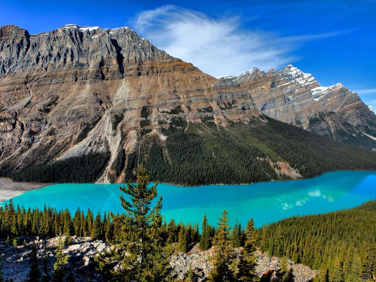 Peyto Lake, Alberta, Canada:  Picture-perfect Peyto Lake in Banff National Park gets its color from rock flour that fill its waters. These tiny bits of glacial sediment turn the lake an almost unreal-looking shade of turquoise.