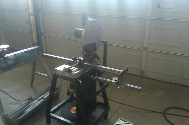 Chop saw, with a fence for making it easier to cut numerous pieces the same lenght.    Newly built Chopsaw cart/ Grinding station - WeldingWeb™ - Welding forum for pros and enthusiasts: Welding, Built Chopsaw, Auto Stuff, Chopsaw Cart, Cut Numerous, Metalworking 101