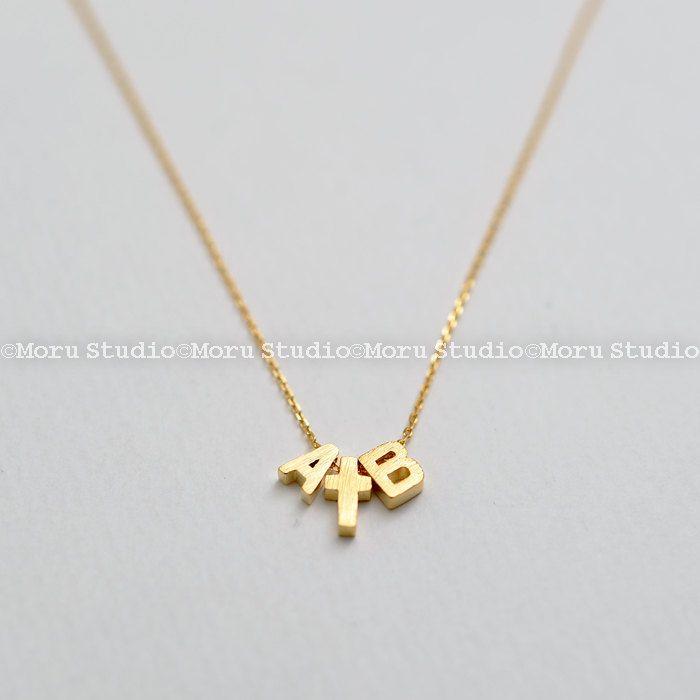Personalized Dainty Little Cross Necklace with Initial charms/ Initial Cross Necklace/ Bridesmaid Jewelry/Wedding Jewelry/ MoruStudio NDC021 by MoruStudio on Etsy