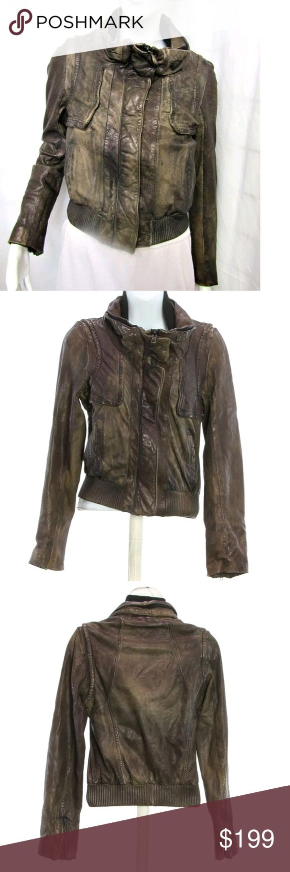 """🔥SALE 🔥All Saints Leather Bomber Moto Jacket Allsaints """" Shedu """" leather jacket.  Retailed approx $550 new, still looks new 😍  Has a unique washed / antique washed  bronzy brown finish with green undertones.  All photod are of the actual jacket for sale in  different lighting  Selling because I have a jacket very similar already.  The style I believe is called """" Pace """"  Size 4, feels smaller . Only flaw I can drum up is that the zipper works fine, just needs to be pushed in firmly before…"""