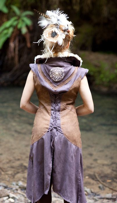 Sacred Geometry Faux Fur Vest by ThirdPerception, maybe make this with recycled leather?
