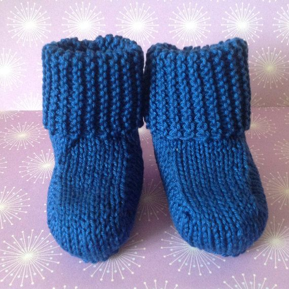 Navy BootiesBlue Baby BootiesHand Knit by Pinknitting on Etsy