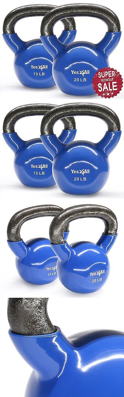 Kettlebells 179814: Vinyl Coated Cast Iron Kettlebell Hand Weight Exercise Set 15+20 Lbs - ²Kvwic BUY IT NOW ONLY: $43.99
