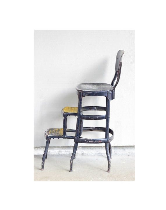 Vintage Step Stool Folding Chair Black Yellow Industrial Home Decor Rustic Cosco