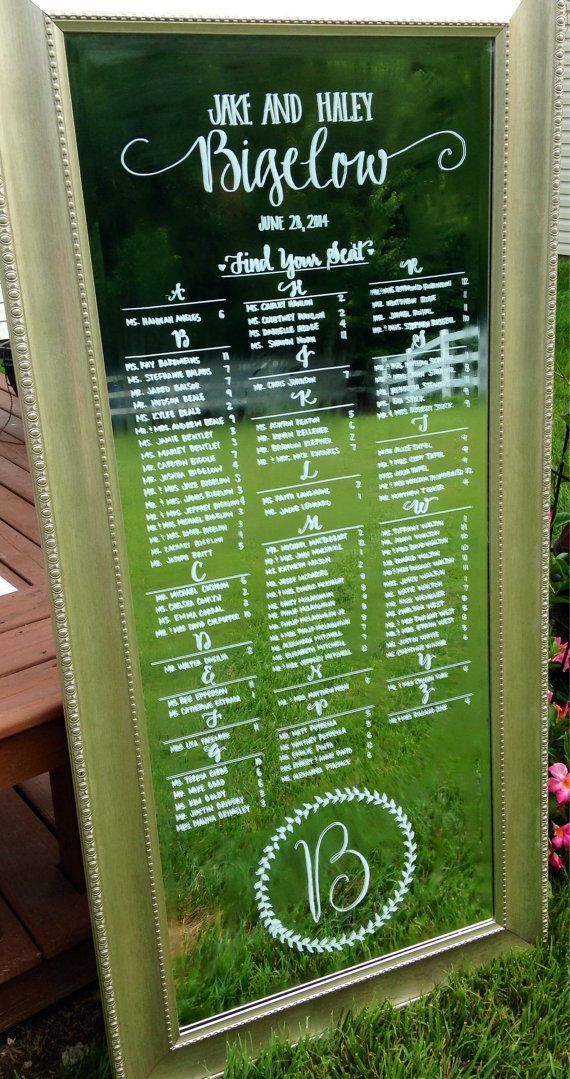 Floor mirror wedding seating chart