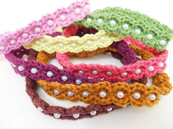 Crochet Baby Headbands with beads.