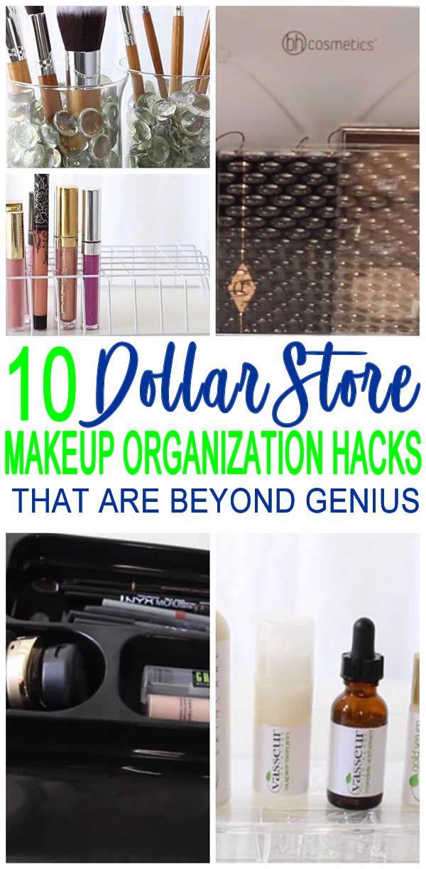 Dollar Store Hacks! BEST Dollar Store makeup organization hacks! DIY craft proje…