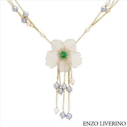 $3,079.00  ENZO LIVERINO Made in Italy Stunning Brand New Necklace With 50.00ctw Precious Stones - Genuine Chalcedony, Jades and 7.5 - 8mm Freshwater Pearls Made in 18K Yellow Gold. Total item weight 59.01g  Length 26in - Certificate Available.