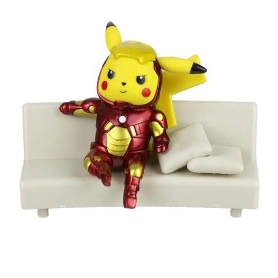 Pokemon Iron Man Pikachu Figurine - Marvel Avengers Figure Collectible Model Toy