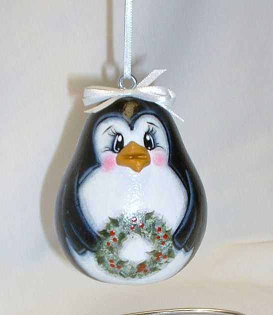 Penguin Gourd Tree Ornament Hand Painted Gourd by FromGramsHouse