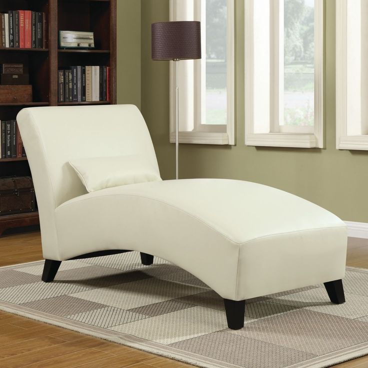 Chaise Lounge Leather Couch Sofa Living Room  Lounger Bedroom Contemporary Cream #Contemporary