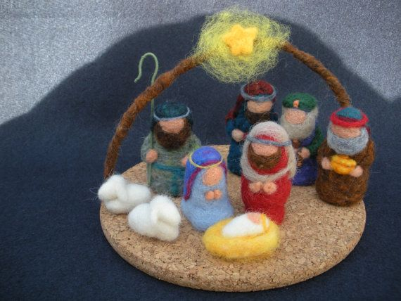 Christmas Nativity Scene needle-felted with wool. $125.00, via Etsy.