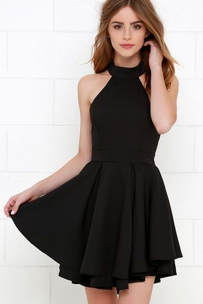 When the spotlight falls on you, you'll be grateful to be donning a number as cute as the Dress Rehearsal Black Skater Dress! Medium-weight woven fabric falls from a halter neckline into a princess seamed bodice with wide arm openings. Neckline fastens at back above a cutout before meeting a banded waist and full, skater skirt. Hidden back zipper with clasp.
