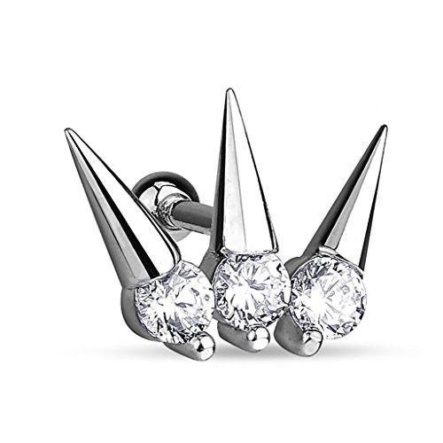BodyJ4You® Cartilage Tragus Earring Crystal Crown 16 Gauge Piercing Jewelry